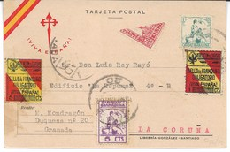España. Postal Circulada De Granada A La Coruña Con Sellos Locales De Granada Y Bisectado De 30 Cts - 1931-50 Lettres