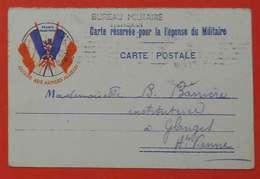 Ww1 Carte En FM Bureau Militaire De Perpignan France Quand-même 1914  Poilus Beau Cachet Glanges 87 Sans éditeur - 1914-18