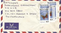 Sierra Leone 1989 - Lettre De Magburaka à Genève, Suisse (UNHCR) - Affranchissement Sc 863 X 6 - Acraea Swallowtail - Sierra Leone (1961-...)