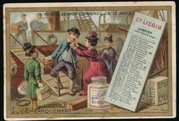 1 LIEBIG - VOYAGE AUTOUR DU MONDE JANVIER 1888  L'EMBARQUEMENT  - 2 SCANS - Liebig