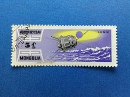 1964 MONGOLIA 5 SPAZIO COSMO SATELLITE LUNIK FRANCOBOLLO USATO STAMP USED - Mongolia
