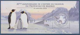 = Bloc Neuf Timbre Terres Australes Et Antarctiques Françaises 20è Anniversaire Entrée En Vigueur Du Protocole De Madrid - Blocs-feuillets