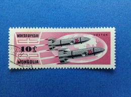 1964 MONGOLIA 10 SPAZIO COSMO SATELLITE VOSTOK FRANCOBOLLO USATO STAMP USED - Mongolia