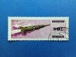 1964 MONGOLIA 80 SPAZIO COSMO SATELLITE ECHO 2 FRANCOBOLLO USATO STAMP USED - Mongolia
