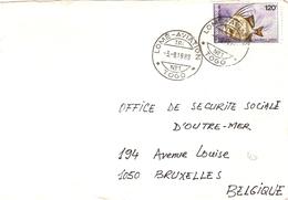 Togo 1988 - Lettre De Lomé - Aviation  L'Office DeSécurité Sociale D'Outre-mer à Bruxelles, Belgique - YT 1222 - Togo (1960-...)