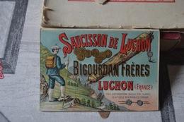 SAUCISSON DE LUCHON  BIGOURDAN FRÉRES  ; CARNET  PUBLICITAIRE 1898  DE TARIFS  CHARCUTERIES VINS  PATÉS ETC - Advertising