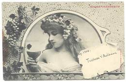 Cpa Fantaisie - Minois Charmants -  ( Femme, Raisin , Vin, Bergeret ) - Femmes