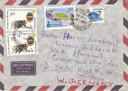 Inde 1982 - Lettre Par Avion De Tamil Nadu à Hürth HerMülheim/Allemagne Fédérale - Affranchissement Composé - Inde