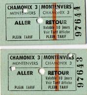 2 Tickets Aller - Retour  - Téléphérique  CHAMONIX  3   - MONTENVERS - Titres De Transport