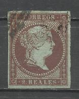 430-SELLO CLASICO ISABEL II Nº42 AÑO 1855 FILIGRANA LAZOS  22,00€,2 REALES USADO,4 BUENOS MARGENES DE LA SERIE.PERFECTAS - 1850-68 Reino: Isabel II