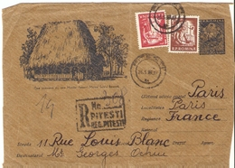 Roumanie 1960? - Devant De Lettre Recommandée De Pitesti à Paris, France - Entier Postal 55b + Complément D'affranchisse - 1948-.... Républiques