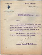 VP14.209 - MILITARIA - Ville De PARIS 1937 - Lettre Du Colonel ISLERT Commandant Le Régiment Des Sapeurs - Pompiers - Firemen