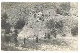 Cpa Carte-photo Enfants Près De Rivière , à Localiser ( Gardon, Cèze ? ) - Cartes Postales