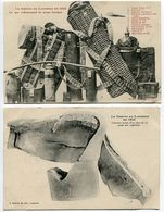 2 CPA Guerre 1914 * Ce Que Collectionnent Les Jeunes Lorrains (casque à Pointe) & Curieuse Forme Obus 75 Après Explosion - Guerre 1914-18