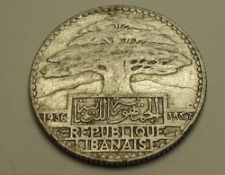 1936 - Liban - Lebanon - 25 PIASTRES, Argent, Silver, KM 7 - Libanon