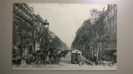 Carte Postale Ancienne  / PARIS Voitures Sur Le Boulevard Des Capucines - Transport Urbain En Surface