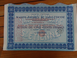 FRANCE - ST ETIENNE - WAGONS FOUDRES - ACTION DE 375 FRS - ST ETIENNE 1923 - Shareholdings