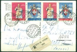 V6937 CITTÀ DEL VATICANO 1959 Cartolina Illustrata Raccomandata Con Incoronazione Giovanni XIII, Serie Completa, - Vatican