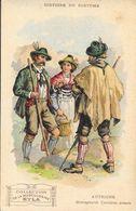 Histoire Du Costume - Publicité Musculosine Byla: Autriche, Montagnards Tyroliens Actuels - Format Carte Postale - Cromo