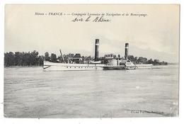 """Cpa:  BATEAU """"FRANCE"""" Compagnie Lyonnaise De Navigation Et De Remorquage 1914 - Remorqueurs"""