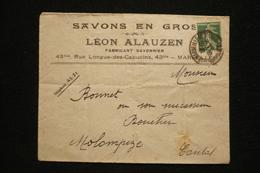 Lettre En Tête Savons En Gros Léon Alauzen Marseille 1915 - France