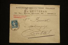 Lettre En Tête Boucherie Charcuterie St Louis M Trotebas 1924 - France