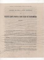 1892 PUBLICITE CHEMIN DE FER A VOIE NORMALE DE PUERTO SANTA MARIA A SAN LUCAR DE BARRAMEDA ESPAGNE ANDALUCIA CADIX - Chemin De Fer & Tramway