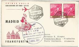 CC PRIMER VUELO MADRID FRANKFURT 1963 LUFTHANSA - Airmail