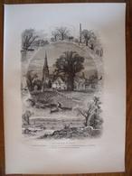 Faubourgs De Boston, Massachusetts    Gravure    1880 - Vieux Papiers