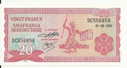 BURUNDI 20 FRANCS 2001 UNC P 27 D - Burundi