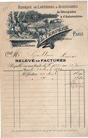 VP14.211 - Facture - Fabrique De Lanternes & Accessoirs De Vélocipèdes & D'Automobiles L. TEMPERE à PARIS - 1800 – 1899