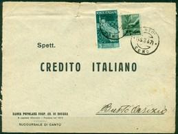 V8729 ITALIA REPUBBLICA 1947 Lettera Affrancata Con Repubbliche Marinare 3 L. + Democratica 1 L. Da Cantù 15.3.47 - 6. 1946-.. Repubblica