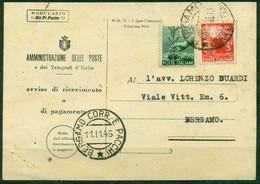 V8961 ITALIA REPUBBLICA 1946 Avviso Di Ricevimento (Mod. 23-I Ediz. 1946) Affrancato Con 1+3 L. Democratica E Annullo - 6. 1946-.. Repubblica