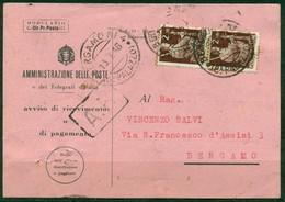 V8962 ITALIA REPUBBLICA 1946 Avviso Di Ricevimento (Mod. 23-I Ediz. 1942) Affrancato Con 2+2 L. Democratica E Annullo - 6. 1946-.. Repubblica