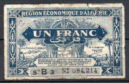Algérie Billet De 1 Franc 1944 Série B3 - Algérie