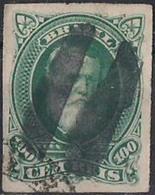 BRAZIL #0041  -  EMPEROR  D. PEDRO Ll  WHITE BEARD  -  100 Rs GREEN - PERCÉ - 1877 - Brasil
