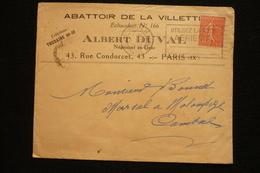 Lettre En Tête Abattoir De La Villette Albert Du Val échaudoir 166 Paris 1932 - France