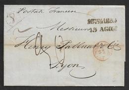 """1854 - LAC - MESSINA ( SICILIA ) A LYON - 1854 15 AGO - Ms POSTALE FRANCESE - """"DEUX-SICILES / 1 MARSEILLE 1"""" - Sicilia"""