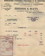 VP14.213 - Facture - Manufacture D'Appareils D'Eclairage Et De Chauffage Etablissements E. HAYS à PARIS Rue Amelot - Electricity & Gas