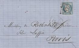 LETTRE COVER. 1871. BANK  ROTHSCHILD. J.LE PICARD ROUEN TO PARIS. NO CORRESPONDANCE - Ohne Zuordnung