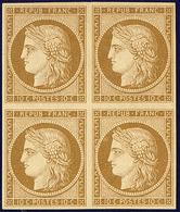 * No 1a, Bloc De Quatre (dont Un Ex **), Infime Rousseur Au Verso D'un Ex Mais Superbe. - RR - 1849-1850 Ceres