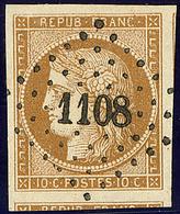 No 1a, Deux Voisins, Nuance Foncée, Obl Pc 1108, Superbe - 1849-1850 Ceres