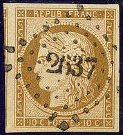 No 1a, Un Voisin, Nuance Foncée, Obl Pc 2637. - TB - 1849-1850 Ceres