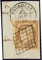 No 1a, Obl Grille Sur Fragment Avec Cad Toulouse 12 Nov 50, Un Voisin, Jolie Pièce. - TB - 1849-1850 Ceres
