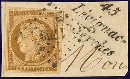 """No 1a, Un Voisin, Obl Pc 1703 Sur Fragment Avec Cursive """"45/Lévignac/de Seyches"""", Coup De Ciseau Dans Une Marge Sinon TB - 1849-1850 Ceres"""