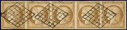 No 1a, Bande De Cinq Obl Grille. - TB. - R - 1849-1850 Ceres