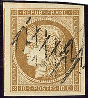 No 1b, Bistre Verdâtre, Trois Voisins, Obl Grille Sans Fin, Jolie Pièce. - TB - 1849-1850 Ceres