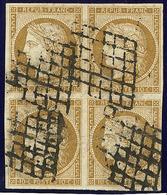No 1b, Bloc De Quatre (pli Sur Deux Ex Dont Un Avec Pelurage), Obl Grille, TB D'aspect. - R - 1849-1850 Ceres