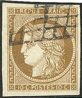 No 1c, Bistre-verdâtre Foncé, Très Belle Nuance, Obl Grille, Jolie Pièce. - TB. - R - 1849-1850 Ceres