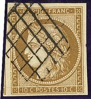 No 1c, Un Voisin, Obl Grille, Sur Support, Jolie Pièce. - TB - 1849-1850 Ceres